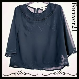 Forever21:Size:M/Black Sheer Embroider Blouse
